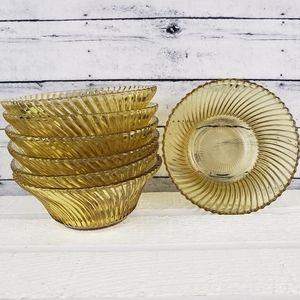 """Vtg Federal Glass Diana 5"""" Amber Cereal Bowls (7)"""